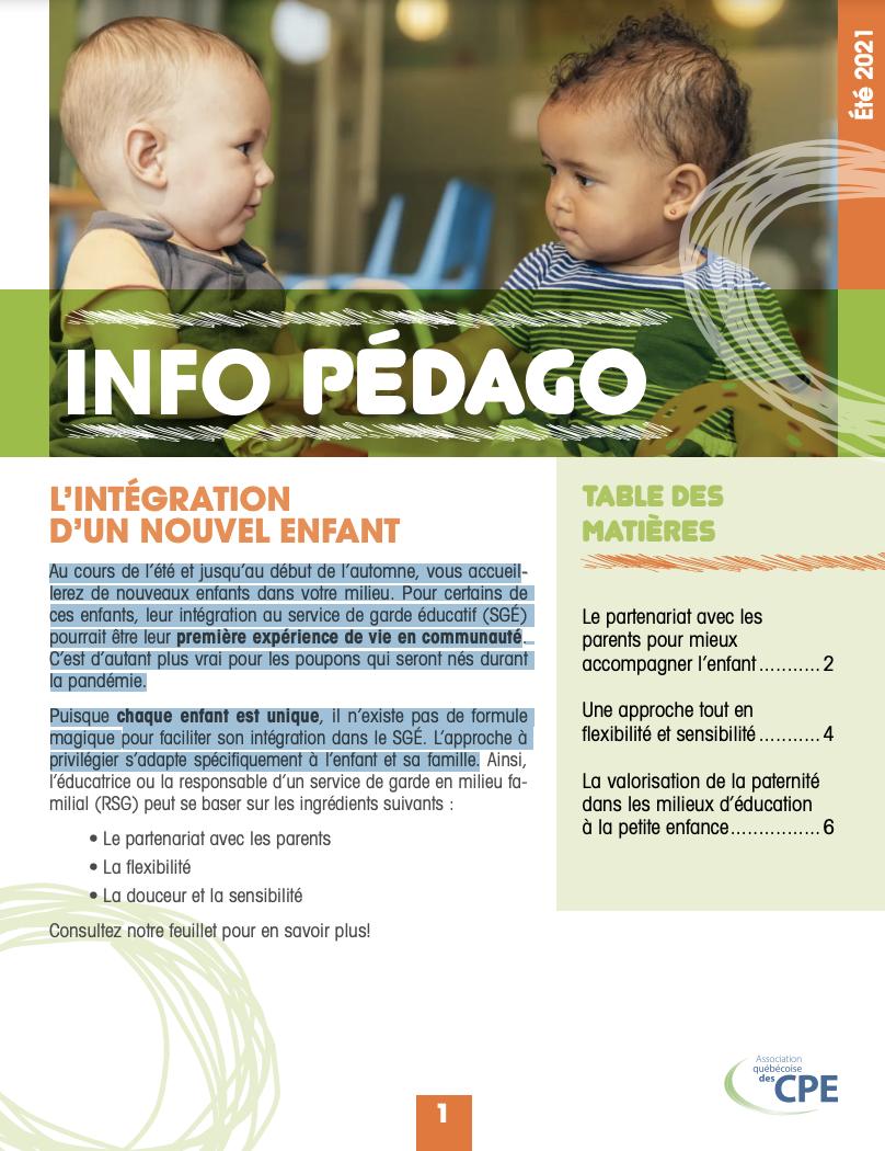 page couverture info pédago deux bébés